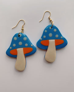 Blue and Orange Mushroom Dangles