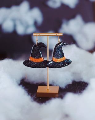 Black and Orange Sparkly Witch Hats