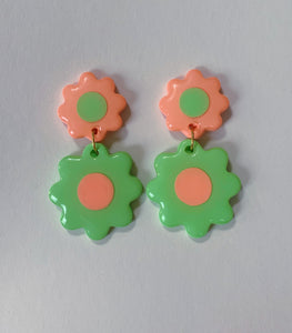 *SALE* Mint and Orange Double Daisies