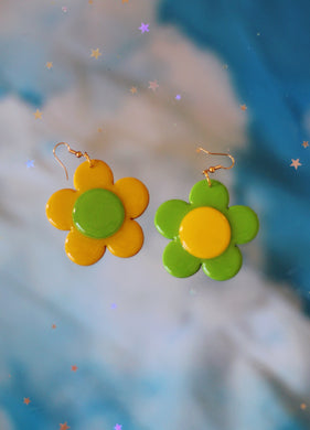 Mustard and Green Mix & Match Daisy Dangles