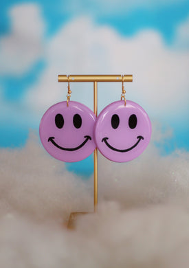 Big Lavender Smiley Dangles
