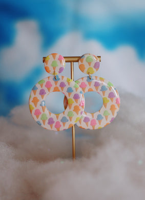 XL Ice Cream Cone Print Hoops