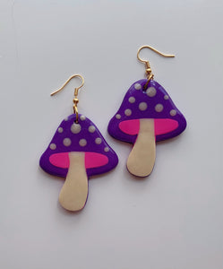 Purple and Pink Mushroom Dangles