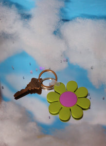 Green and Pink Daisy Keychain
