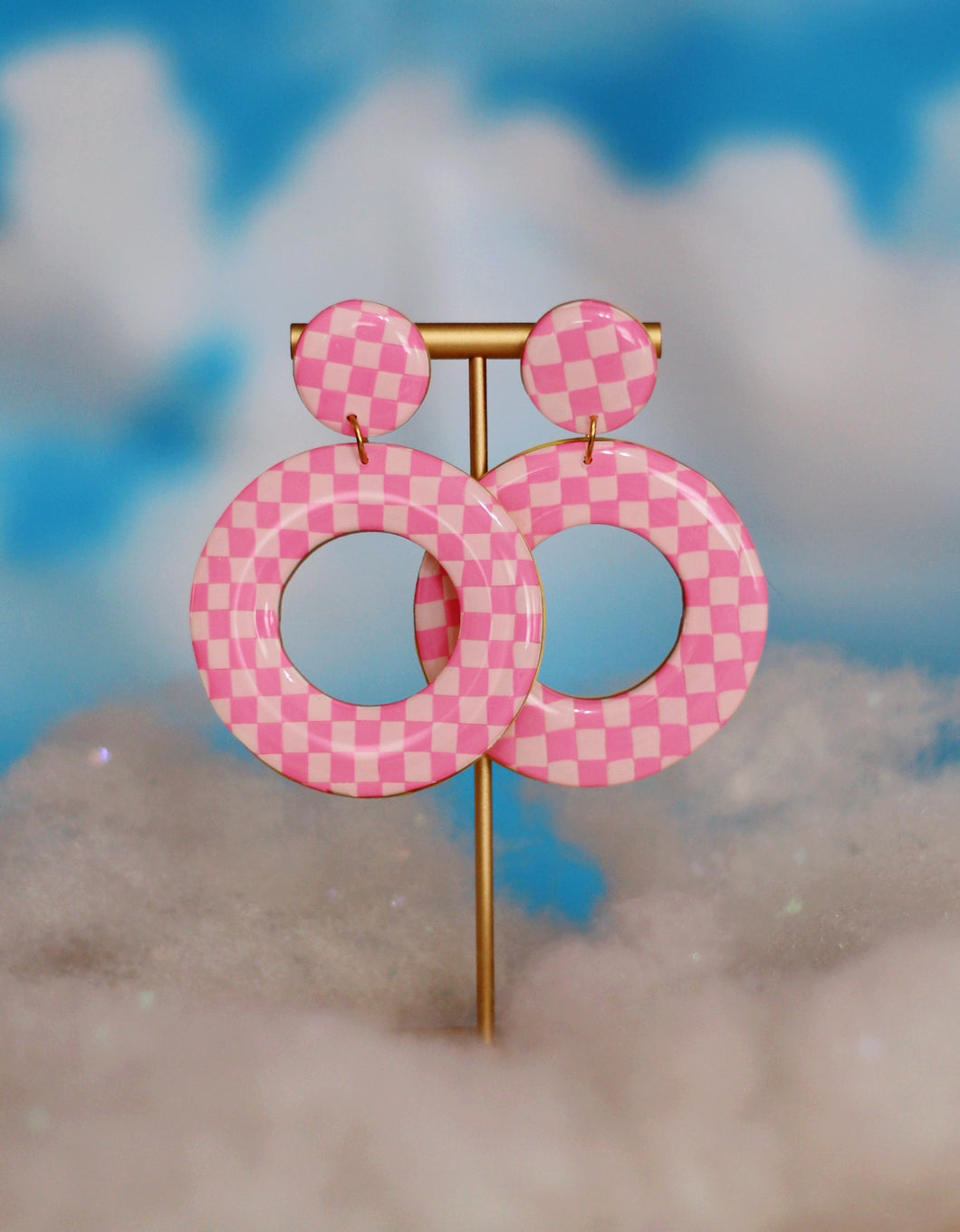 XL Pink Checkered Hoops
