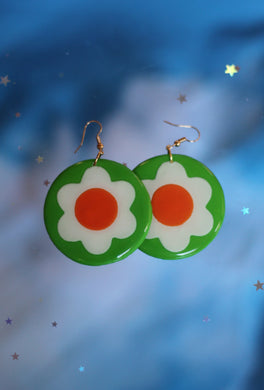 *SALE* Green, White and Orange Circle Daisy Dangles