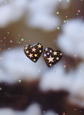 Starry Night Heart Studs