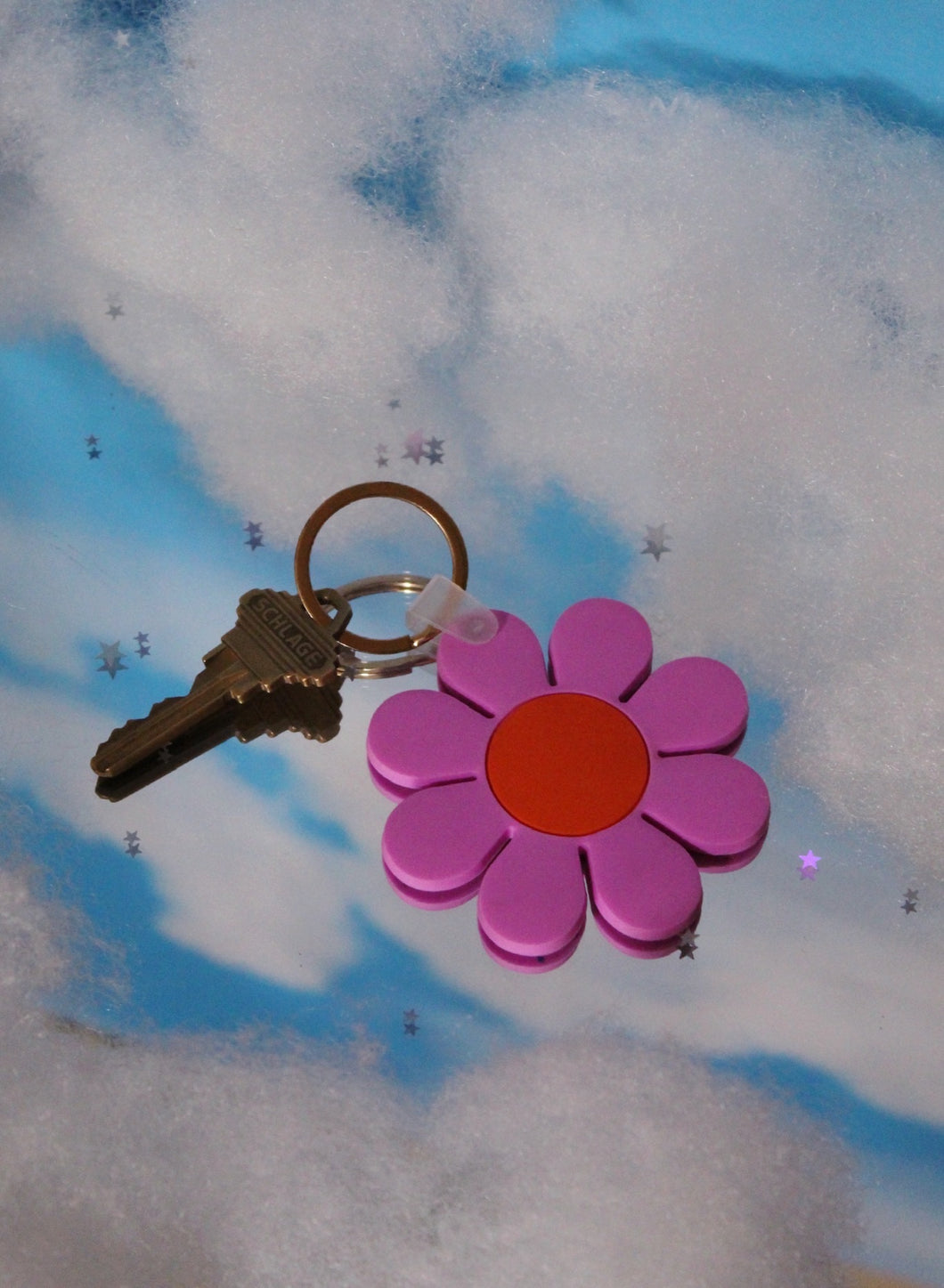 Pink and Orange Daisy Keychain