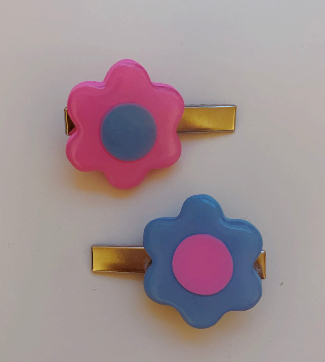 Pink and Periwinkle Mix and Match Barrettes