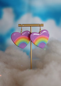 *SALE* Lavender Rainbow Heart Dangles