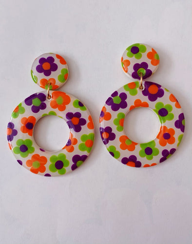 Big Halloween Floral Hoops