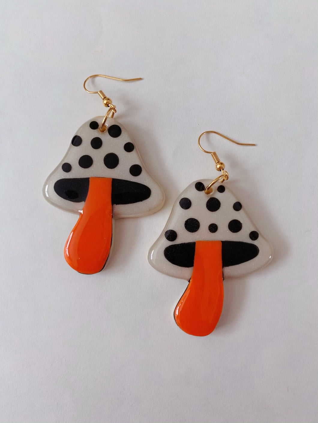 White and Orange Mushroom Dangles