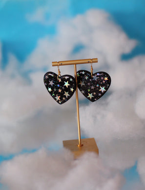 *SALE* Starry-Night Sky Heart Dangles