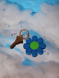 Blue and Green Daisy Keychain