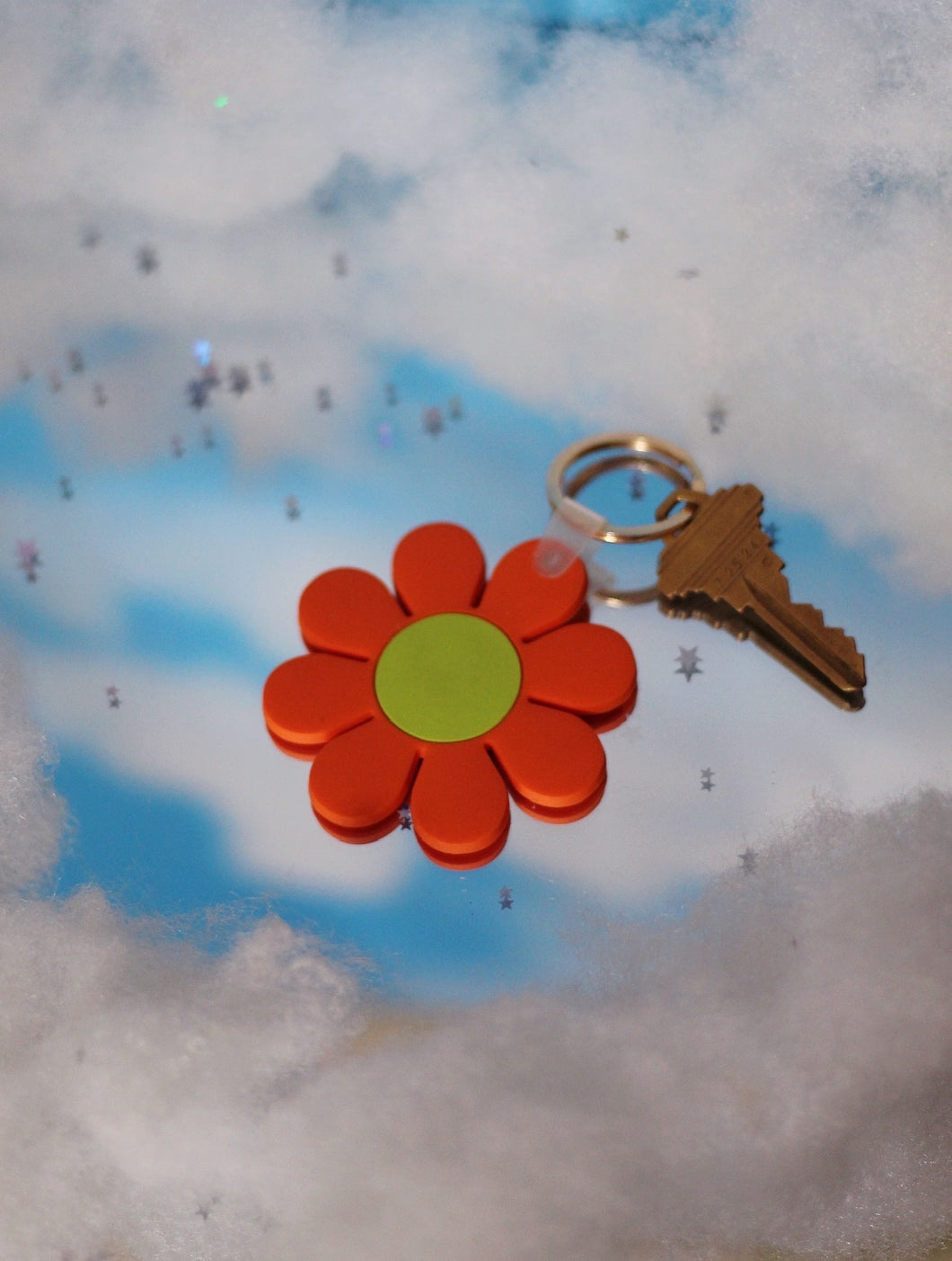 Orange and Green Daisy Keychain