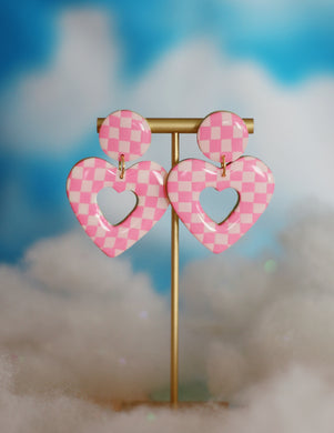 Mini Pink Checkered Heart Hoops