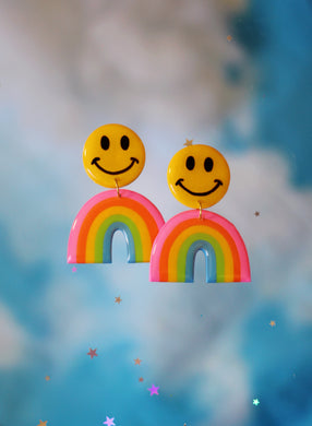 Pink and Blue Smiley Rainbows