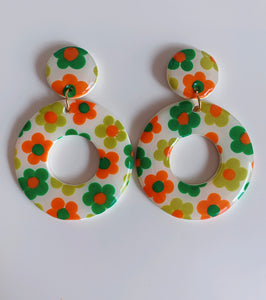Big Cream Hoops with Green and Orange Flowers