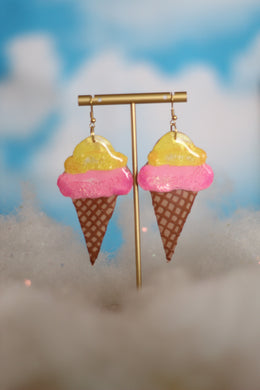 Lemon and Pink Ice Cream Cone Dangles