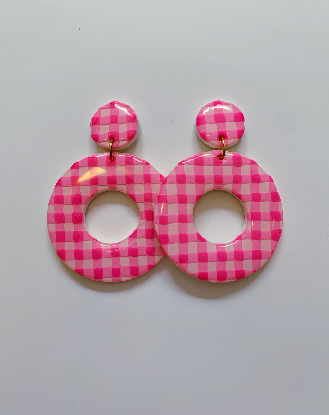 XL Pink Gingham Hoops