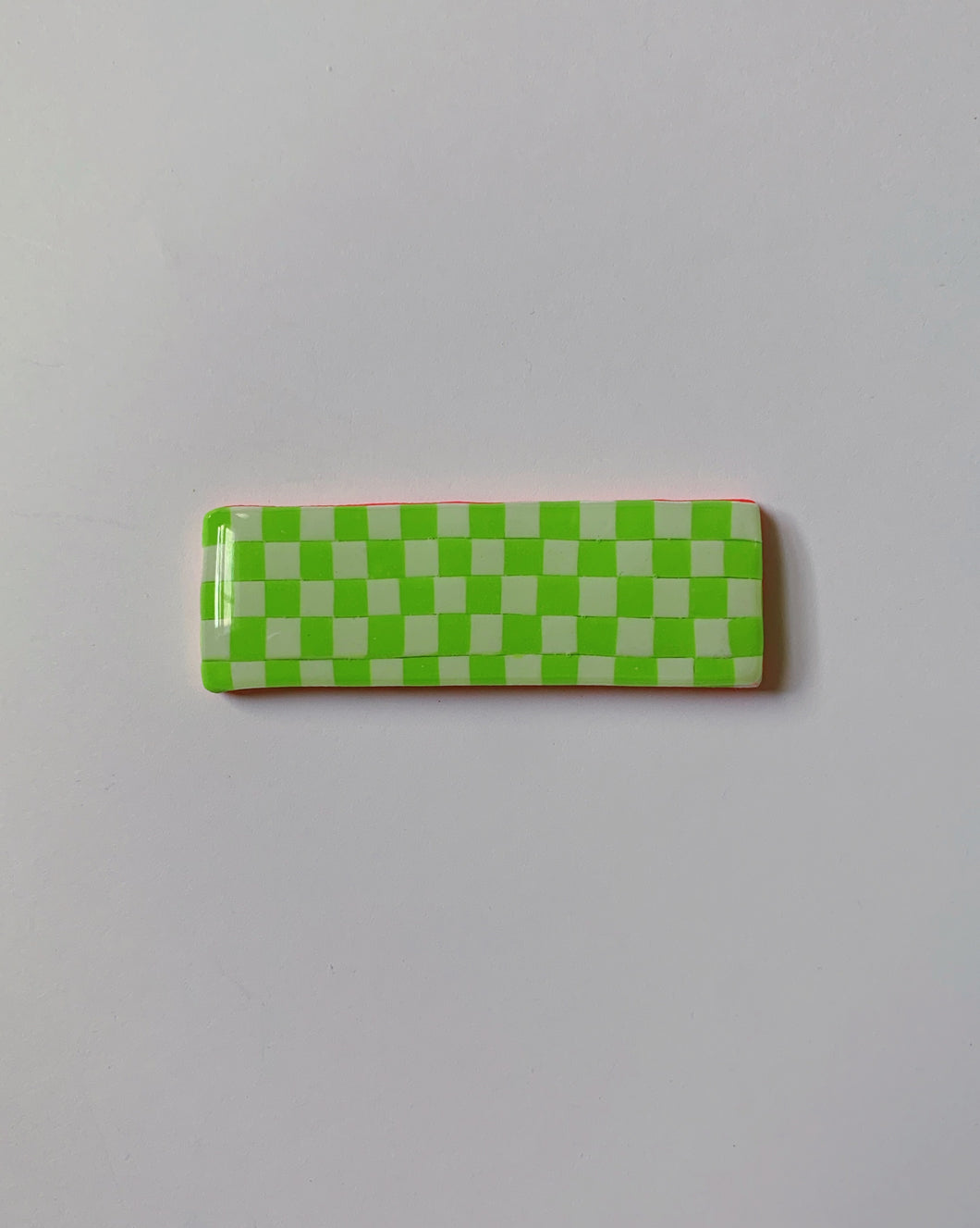 Lime Checkered Barrette