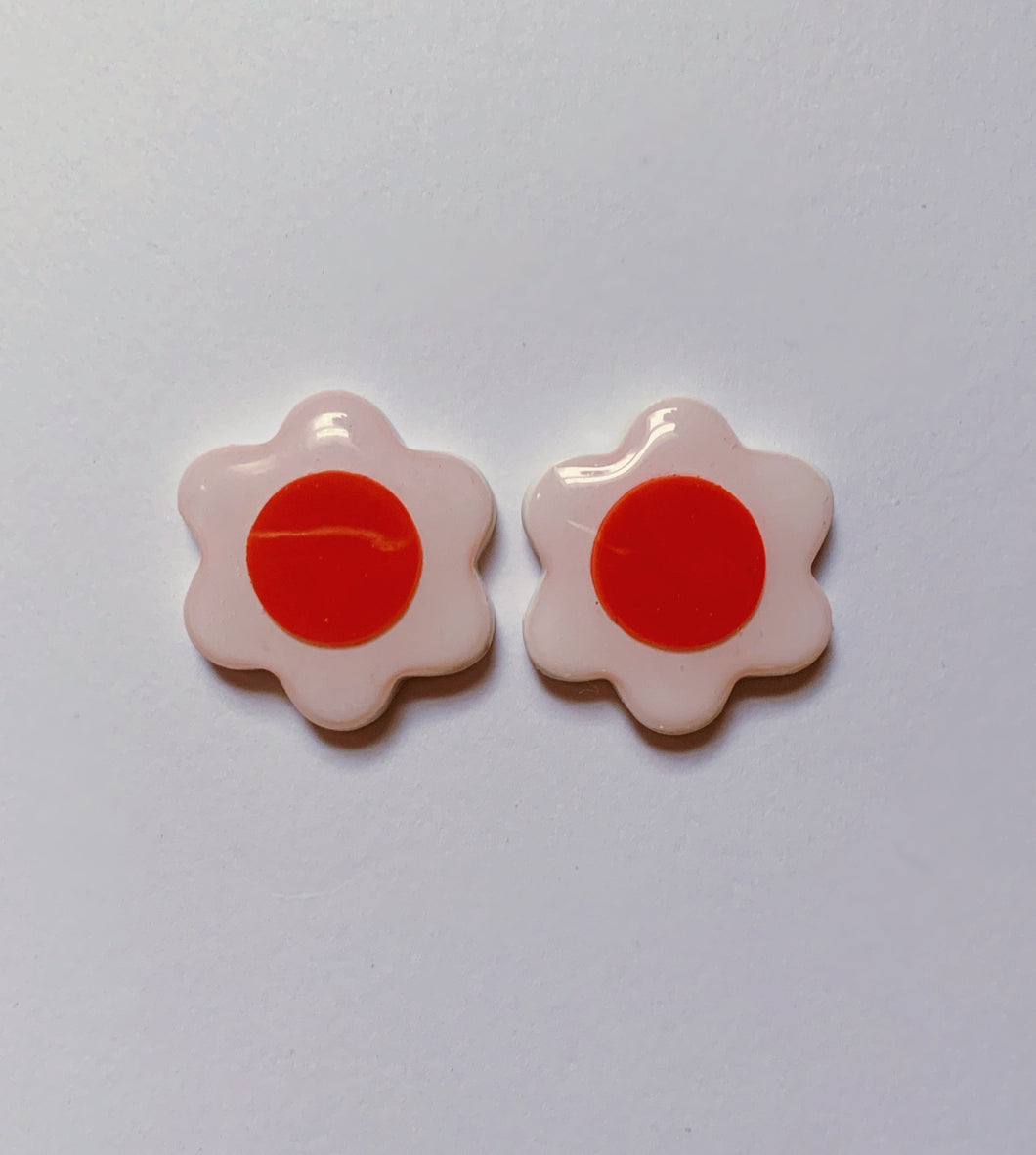 White and Red Daisy Studs