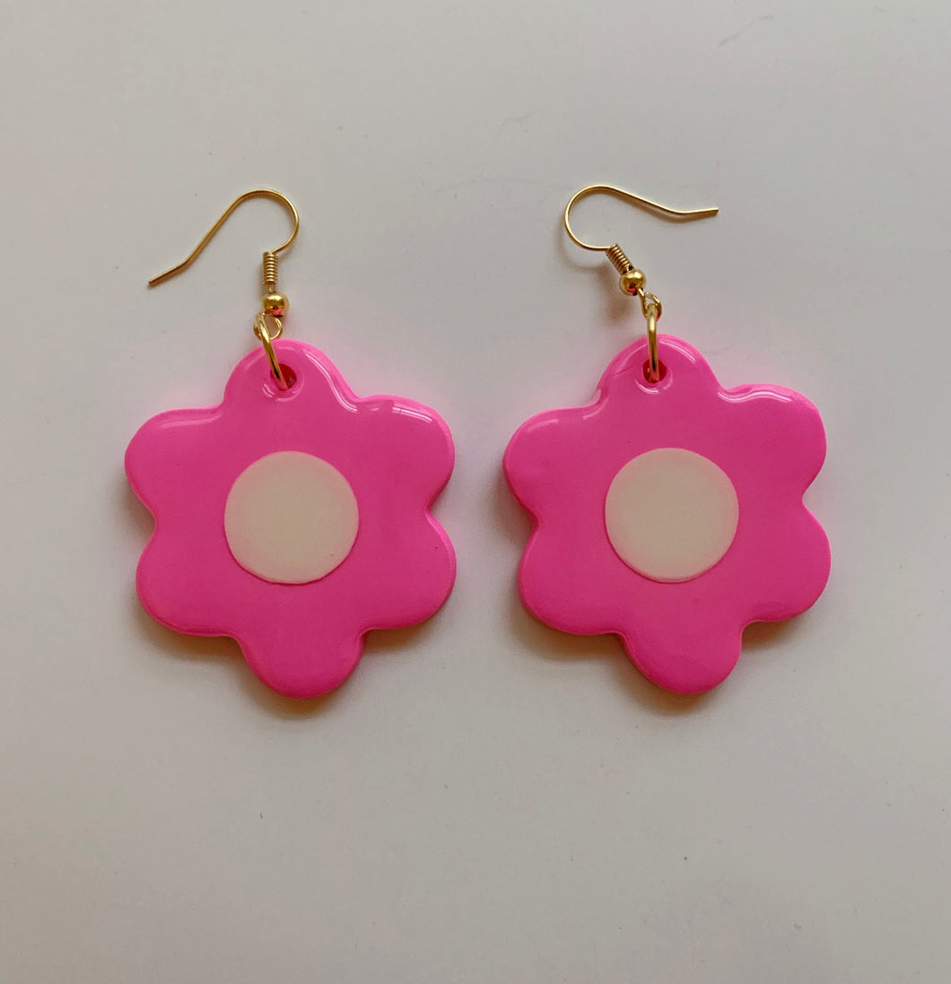 Pink and White Daisy Dangles