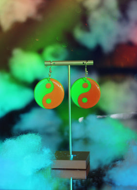 Orange and Green Yin Yang Dangles