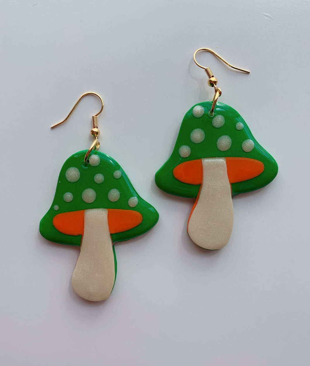 Green and Orange Mushroom Dangles