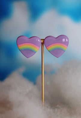 XL Purple Rainbow Heart Studs