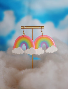 XL Pink and Lavender Rainbow Dangles (with clouds)