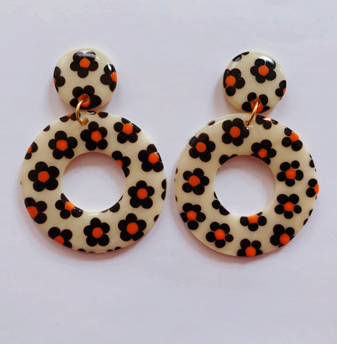 Big Black and Orange Floral Hoops