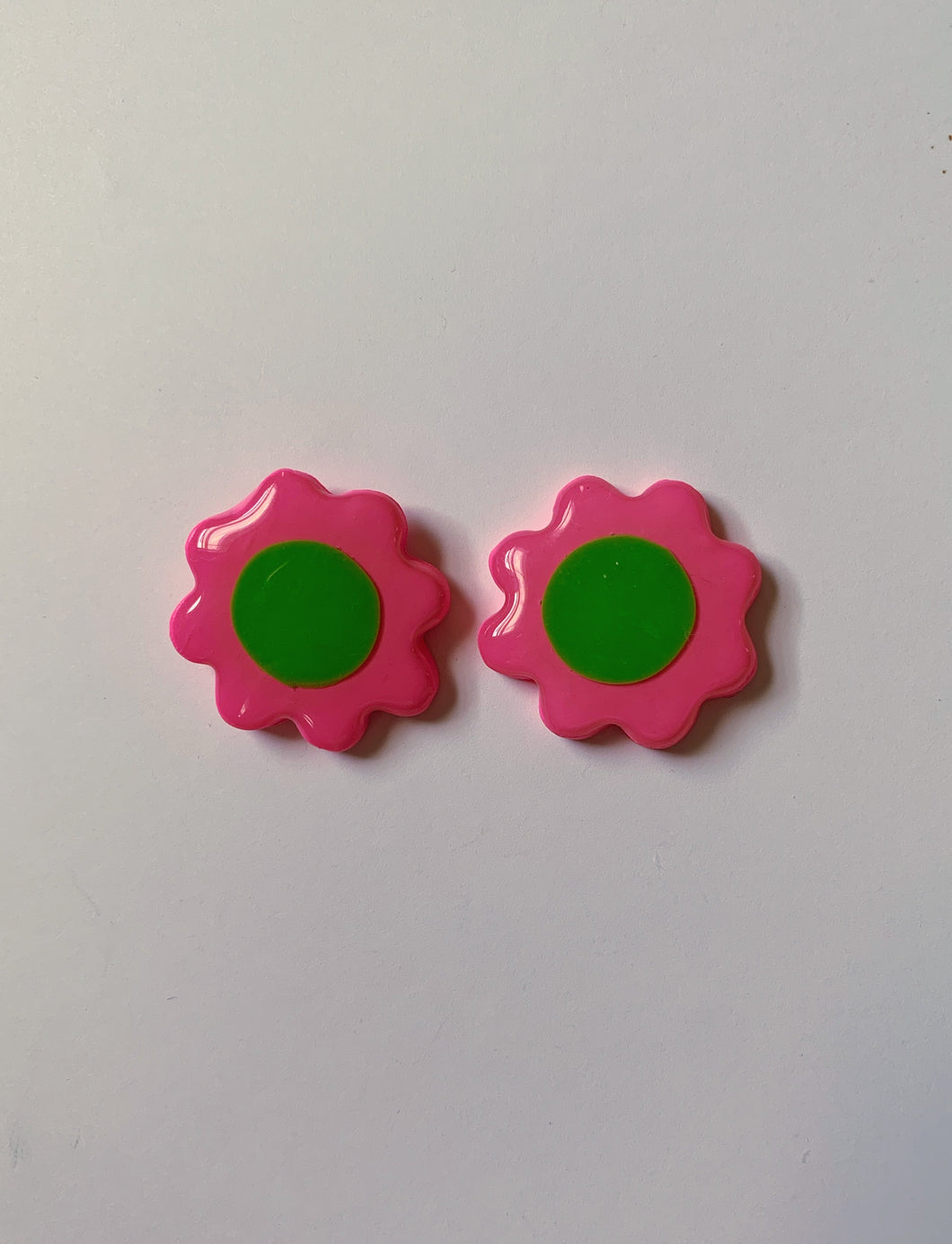 Pink and Green Daisy Studs