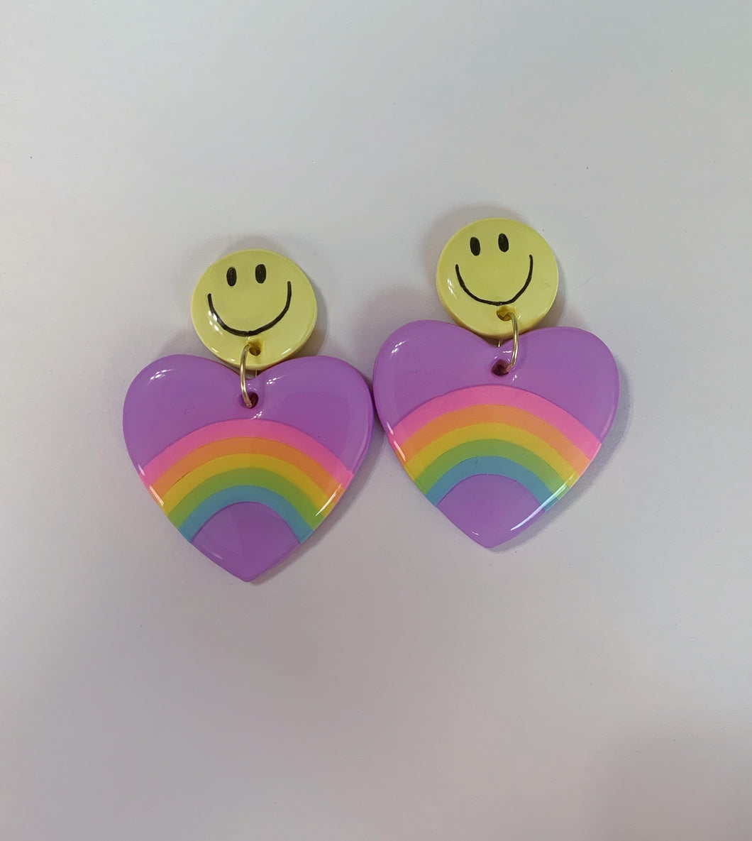 *SALE* Smiley Rainbow Purple Hearts