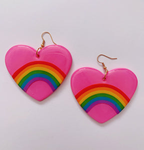 XL Pink Rainbow Heart Dangles