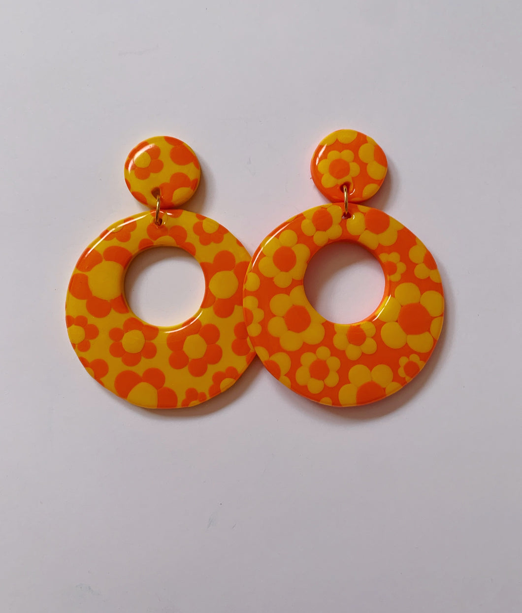 XL Yellow and Orange Mix & Match Floral Mod Hoops