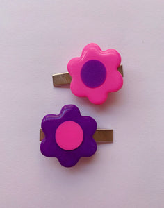 Pink and Purple Mix and Match Daisy Barrettes