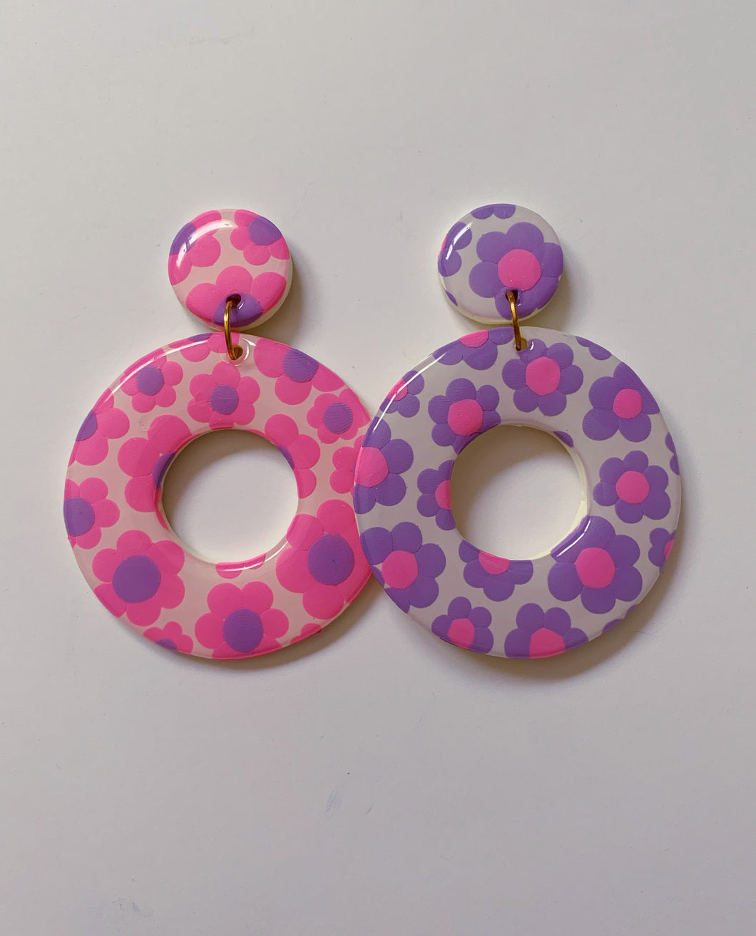 XL Pink and Purple Mix & Match Floral Hoops