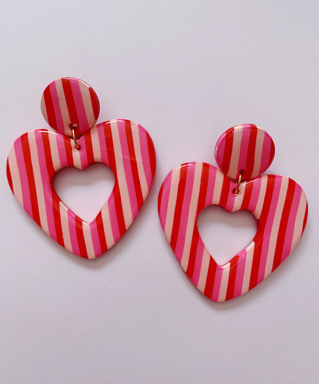 XL Red, Pink and White Striped Heart Hoops