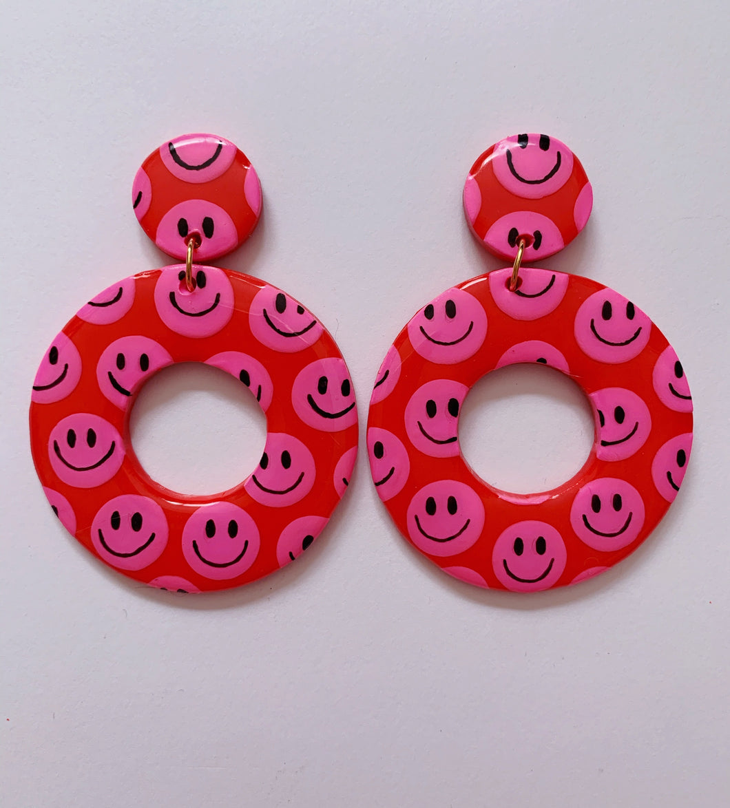 XL Red Hoops with Pink Smilies