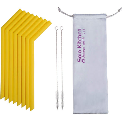 Reusable Silicone Straws -  8PCS Single Color Set