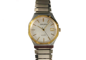 Vintage Gruen watch in the style of Audemars Piguet Royal Oak with stainless steel and gold, waffle dial pattern