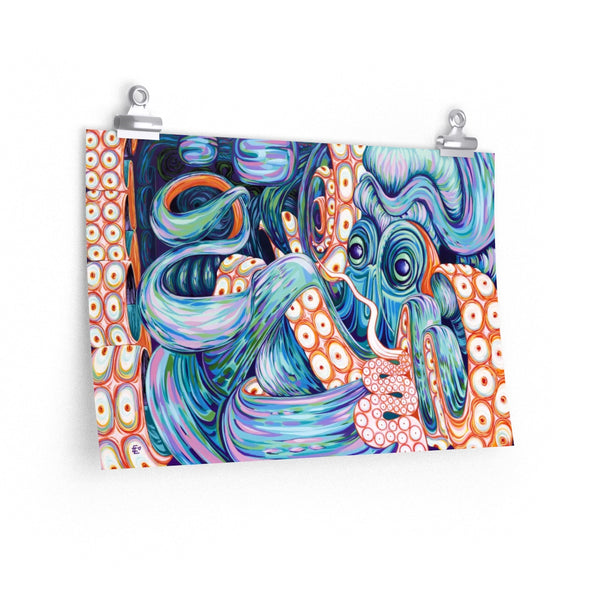 Trippy Octopus poster printed on the finest 264gm heavy weight paper with a photo satin finish