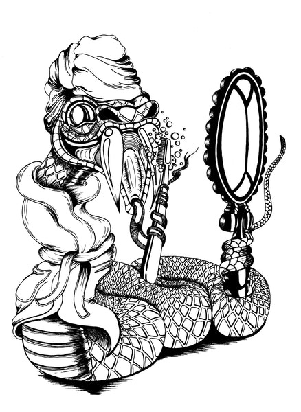 Pen and ink illustration of a swanky snake brushing his teeth to pearly white.