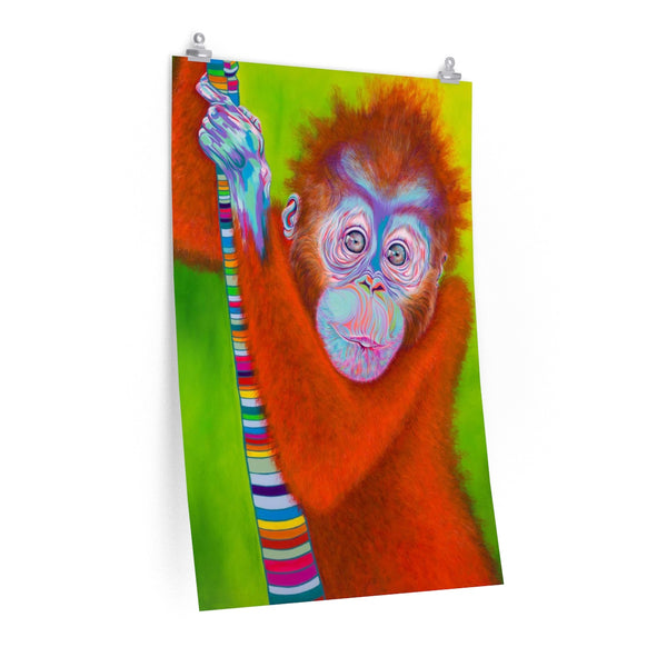 Vibrant Orangutan poster print on 264gsm heavy weight paper with photo satin finish.