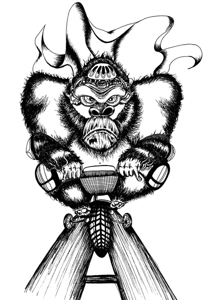 Huge Gorilla learning to ride on a tiny bike with stabilizers.  Black and white pen and ink drawing
