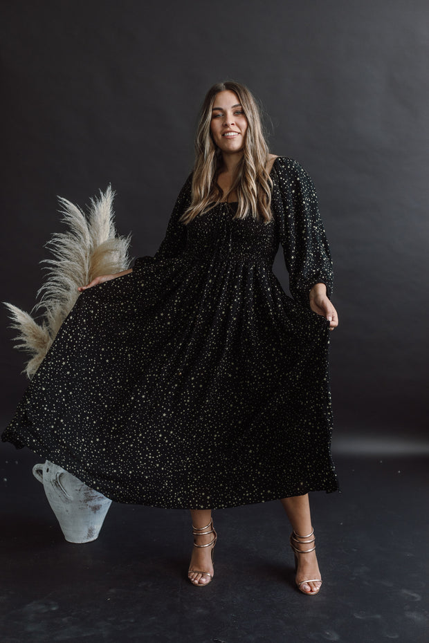 BLACK STARRY SHIRRED DRESS