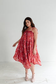 Pheasant Midi Dress - Red
