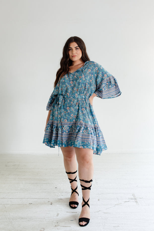 Bloom Mini Dress - Teal