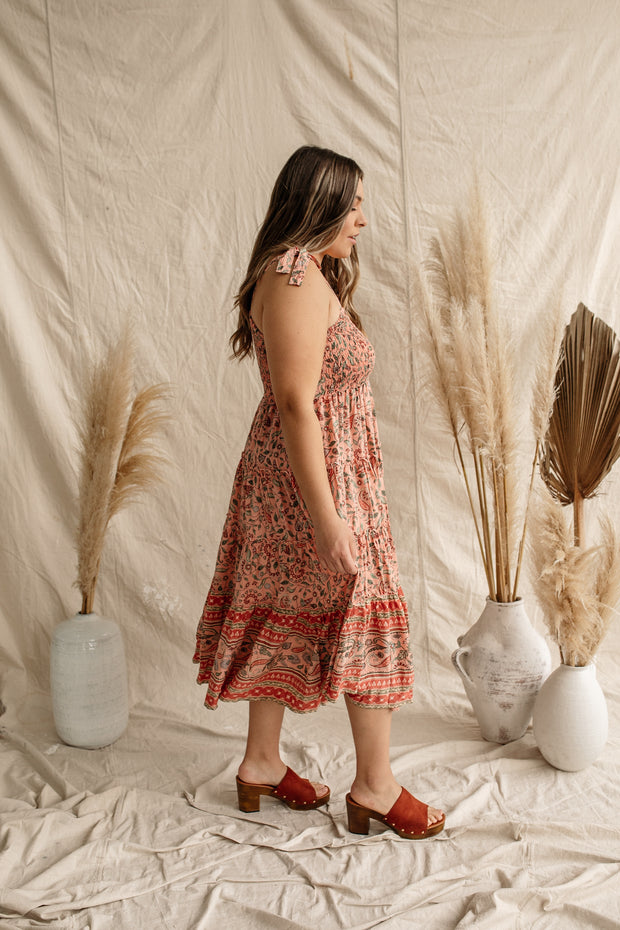 Coral Marrakesh Midi Dress